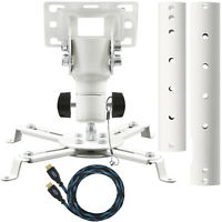 Universal Projector Ceiling Mount (White) w/ Adjustable Extension Pole