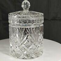Vintage EAPG Brilliant Glass Heavy Cut Lead Crystal Jar with Lid