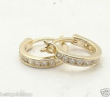 Yellow Gold Clad Real 925 Silver Channel Set Diamonique Cz Hoop Earrings 14K