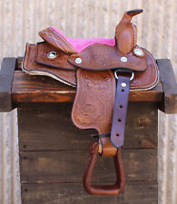 "8"" Brown/Pink Western Saddle Leather Miniature Trail Saddle Mini Horse"