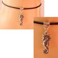 Seahorse Choker Necklace Silver Beach Handmade Women Chain Black Pendant New