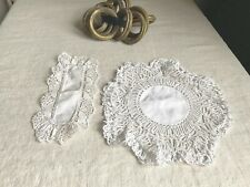 Vintage Doilies White Cotton & Linen Handmade Lace Mats Wedding Home Gift / 2pc