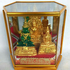 3 Buddha Worship Statue Altar Glass Box Cover Holy Phra Thai Buddhist Amulet