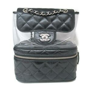 Authentic CHANEL rucksack backpack Calf leather PVC Black Used logo CC Coco