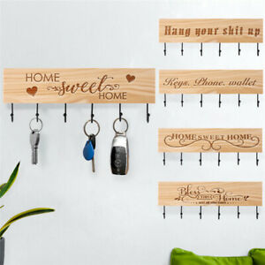 Wooden Metal Wall Mounted Home Hanging Hanger 5/6 Hooks Key Holder Storage Gift