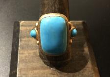 RL China Satin Gold Tone Turquoise Ring Size 10