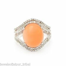 Oval Cabochon Moonstone CZ Stone Solid Silver Cocktail Ring Fashion Jewelry