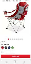 Picnic Time Red Reclining Camp Chair Outdoor Patio Padded 3-Seating Position