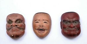 1930's Japanese 3 Stucco & Wood Carved Carving Miniature Noh Mask Demon Robber