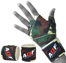AQF Boxing Hand Wraps Bandages Inner Gloves Mma Muay Thai Camo Polyester Green