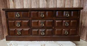 "Vtg Retro Wooden Jewelry Box W/7 Drawers & Music Box Plays ""Laura's Theme"" VGVC"