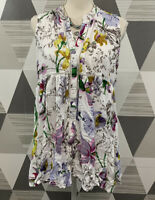 Anthropologie Women's Petite L Floral Button Front Sleeveless top Blouse #3C23