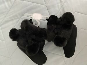 Stepping Stones Baby Girl Black Fall Boots Pom Pom Faux Fur Booties Sz 3 3-6