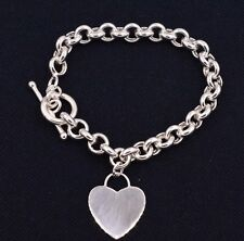 Heart Toggle Charm BRACELET Rolo Chain 14K White Gold Clad Sterling Silver 925