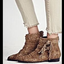 Free People Decades Taupe Distressed Fringe Suede Ankle Boots Size 36 5.5 $179