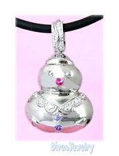 Solid 925 Sterling Silver CZ Snowman Christmas xmas Pendant Necklace great gift