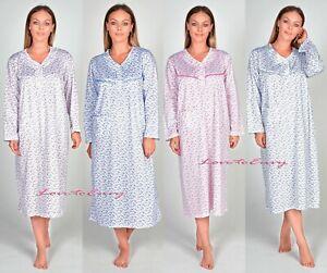 Ladies Night Gown 100% Soft Cotton Plus Size Long Sleeve PJ Lounge Nightie 8-16.