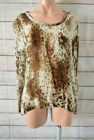 Witchery Tunic Top Size 12 Blouse Brown Cream Black Leopard