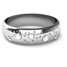 9CT White Gold Fizzy Diamond Set Wedding Ring D Shaped Band 5mm Width Polished