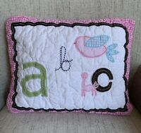 Lot 2 Pottery Barn Kids Girls ABC Quilted SMALL Sham With Insert