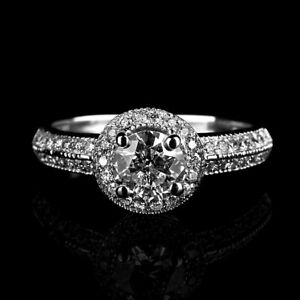 CERTIFIED 1.6 CT SOLITAIRE W SIDE STONES DIAMOND 14K WHITE GOLD ENGAGEMENT RING
