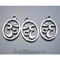 50pcs 22mm Charms Yoga 3D Pendant Tibet Silver DIY Jewelry Charm Pendants A7408