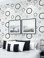 2 White Circle Print Wallpaper Sticker Wall Art Contact Paper Free Shipping Sale