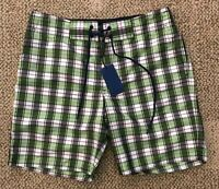 Zachary Prell Mens Woven Swim Trunks Board Shorts Green Plaid Size 29 Small