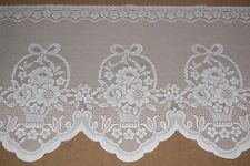 "White vintage net lace cafe curtain fabric 44 cm drop (17"") price per metre"