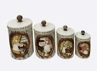 Vintage Sears Roebuck 1978 Pioneer Women Gingham Girl Ceramic Canister Set