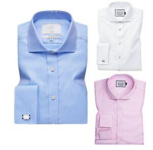 Men's Formal Dress Shirts Business Shirt French Cuff Cutaway Collar Slim Fit RH1