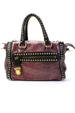 Prada Leather Gold Studded Craquele Satchel Tote Handbag Purple Black