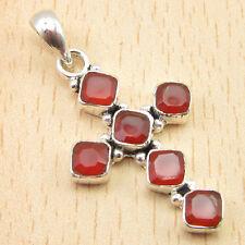 "! 925 Silver Overlay Carnelian Jewelry Exciting Cross Pendant 1.5"" 2.7 grams"