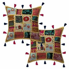 Cotton Patchwork Kodi Tassels Cushion Cover 16 x 16 Handmade Indian Pillow Cases