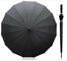JUMBO SIZE UMBRELLA 2 PIECE SOFT HANDLE SPORTY BLACK WITH SILVER INSIDE.  BUY ON
