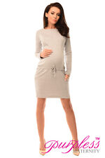Purpless Maternity Pregnancy and Nursing Dress 6204 UK 10 Light Gray Melange