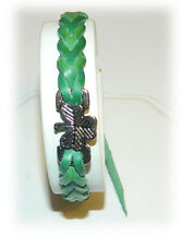 Braided Bracelet Irish Shamrock Leather Look Weave Wristband Green 8052