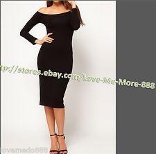 NEW Womens Off Shoulder Casual Wiggle Pencil Midi Calf Bodycon Dress Black SMALL