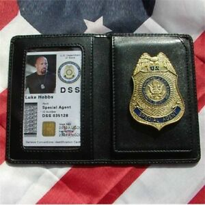 Movie The Fast and the Furious Metal DSS Badge Pin & ID Cards Genuine Leather