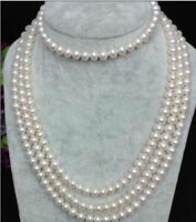 100''Aaa 7-8mm South Sea White Genuine Pearl Necklace 14k