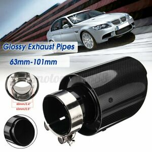 "2.5"" 63mm-101mm Universal Auto Car Rear Glossy Exhaust Pipe Tail Muffler End Tip"