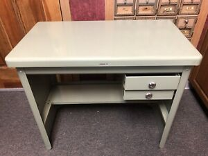 """Vtg Steel/Tanker Industrial Mid Century Modern Desk/Type Writer Stand """"rare"""""""