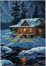 Counted Cross Stitch Kit MOONLIT CABIN Dimensions Gold Collection