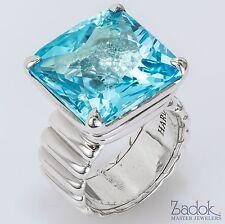 John Hardy 925 Sterling Silver Ring Square Blue Topaz Size 6.75