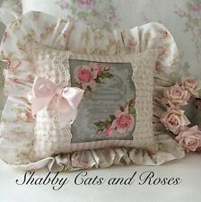 Shabby Roses~French Graphic Pillow~Net Lace Trims~Vintage Pink Ribbon