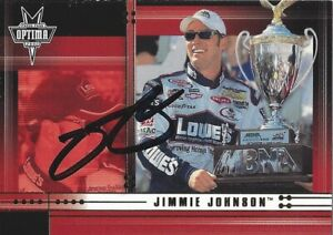 AUTOGRAPHED Jimmie Johnson 2002 Press Pass Optima DOVER WIN Rare Rookie Card COA