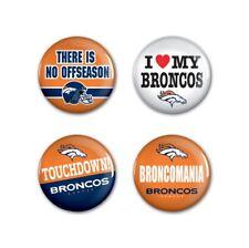 "Denver Broncos Wincraft NFL Button Pins 4 Pack 1-1/4"" Round FREE SHIP!"