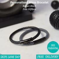 Venice Black Grey Leather & Stainless Steel Mens Personalised Engraved Bracelet
