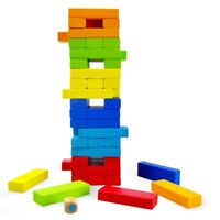 Kids Colourful Stacking Tower Tumbling Jenga Style Wooden Blocks Natural Game