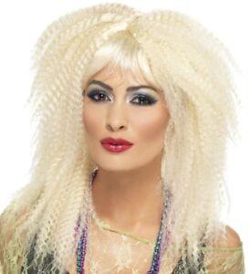 Ladies 80s 80's 1980s Fancy Dress Crimp Wig Blonde Punk Wig by Smiffys